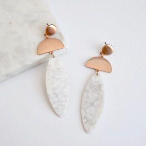 Rose Gold White Resin Earrings
